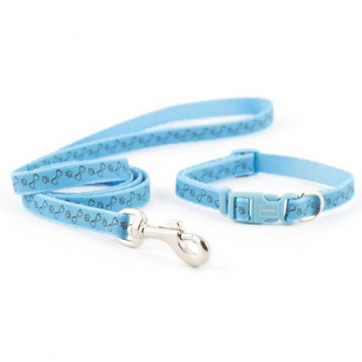 Small Bite Collar & Lead Set Blue Refl Paw & Bone