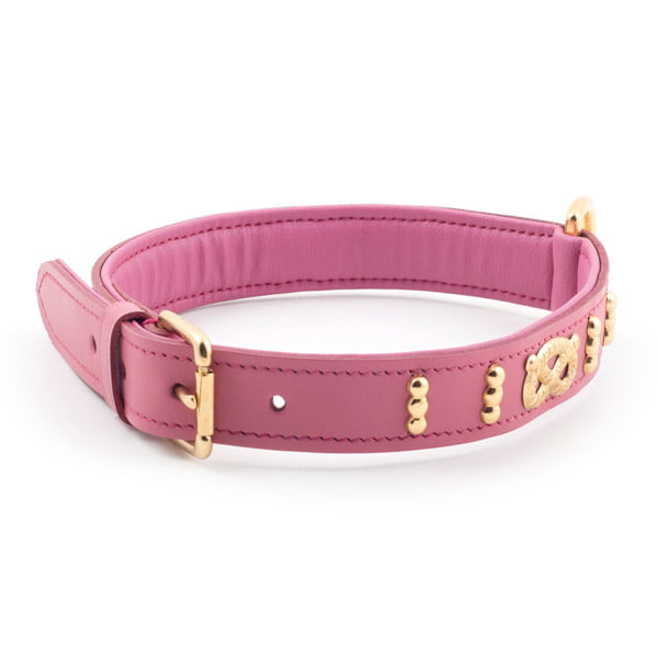 Leather Bull Terrier Collar Staffs Knot Pink