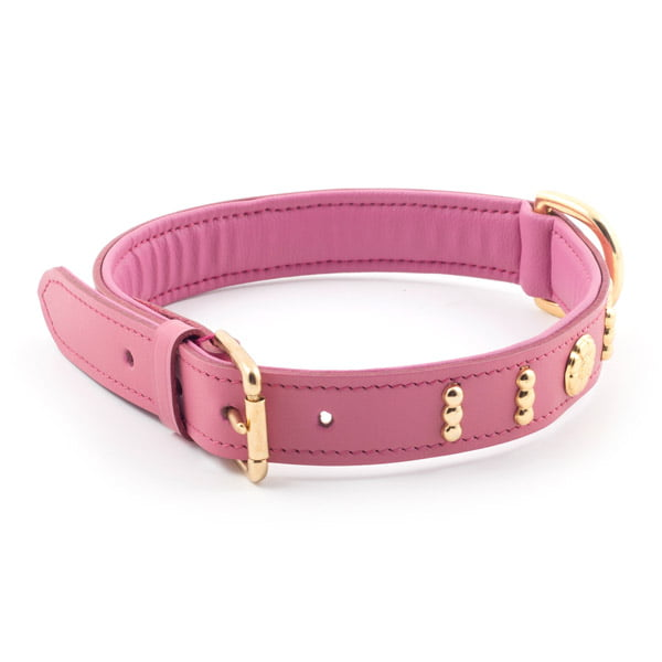 Leather Bull Terrier Collar English Rose Pink