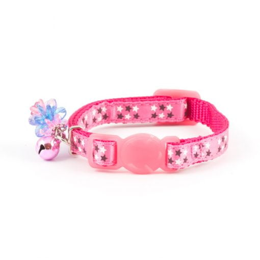 Stars Kitten Safety Buckle Cat Collar Pink
