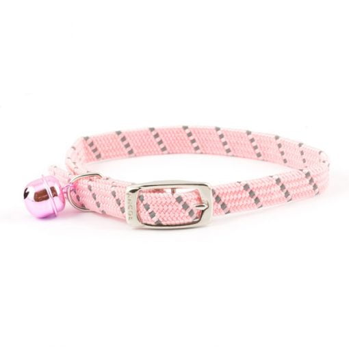 Reflective All Elastic Softweave Cat Collar Pink