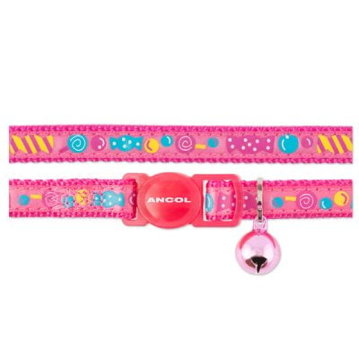 Silky Nylon Heart Cat Collar Pink