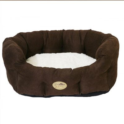 Choc Faux Suede Cream Oval