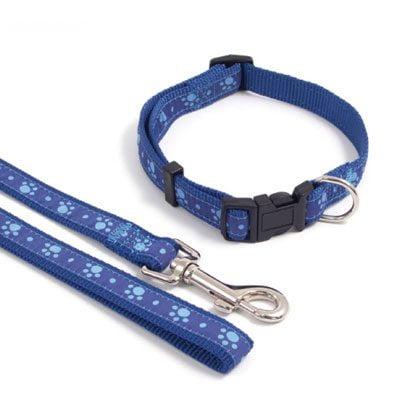 Wag n Walk Collar Blue Paw