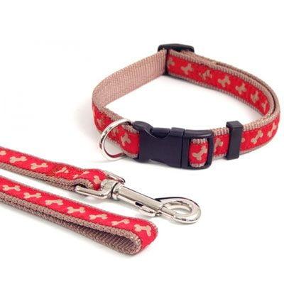 Wag n Walk Collar Red Beige Bone