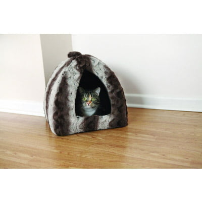 Grey & Cream Cat Pyramid Bed