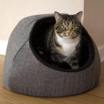 Grey Tweed Hooded Cat Bed