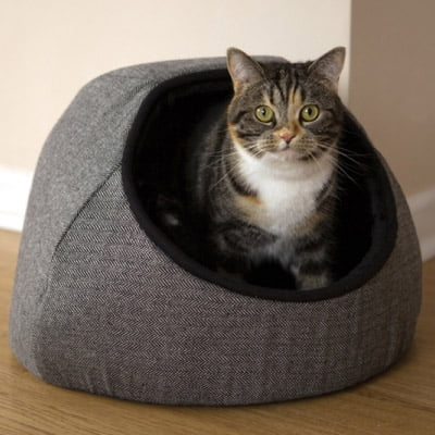 Grey Tweed Hooded Cat Bed
